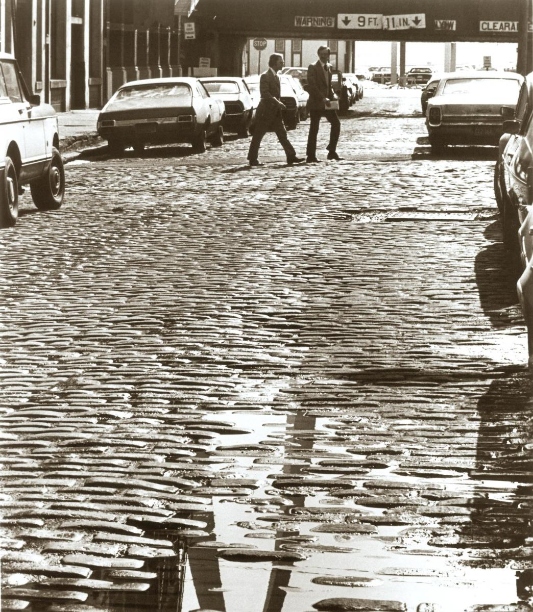 cobblestone street in St. Louis, 1979