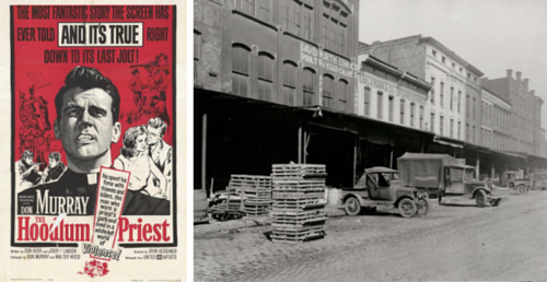Hoodlum Priest Movie Poster next to a historic image of St. Louis's Produce Row in 1912