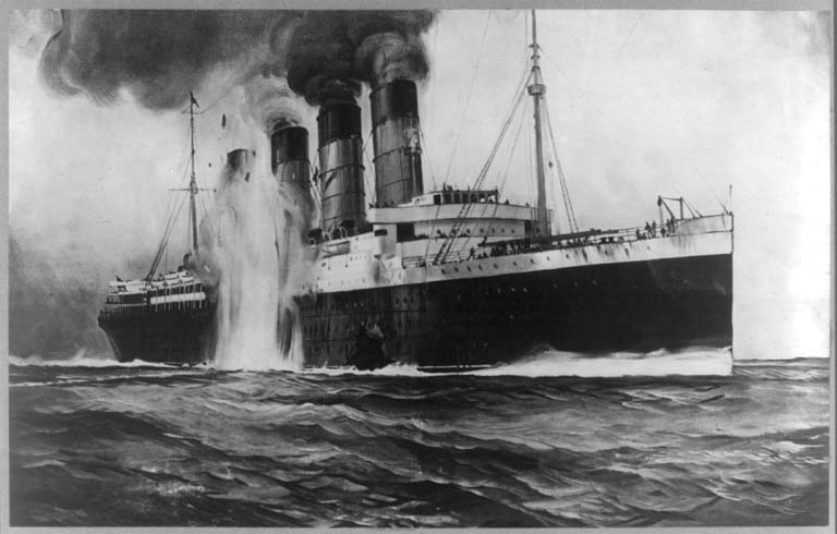 The <em />Lusitania being torpedoed on May 7, 1915. Library of Congress.