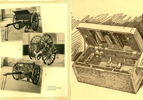 sketches and photos of artillery caissons and boxes made by a foundry during WWI