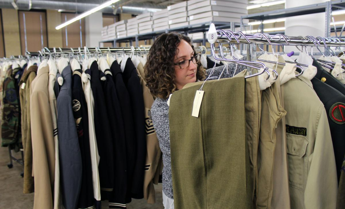 Working with the newly rehoused Soldiers Memorial uniform collection.