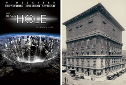 The Black Hole Movie Poster next to an image of the Missouri Athletic Club in