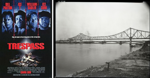 Trespass movie poster next to a historic image of the St. Louis Veterans Memorial (MLK) Bridge in 1950